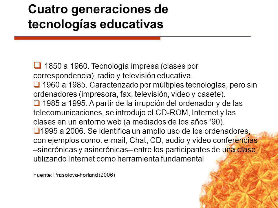 1850 a 1960. Tecnología impresa (clases por correspondencia), radio y televisión educativa. 1960 a 1985. Caracterizado por múltiples tecnologías, pero