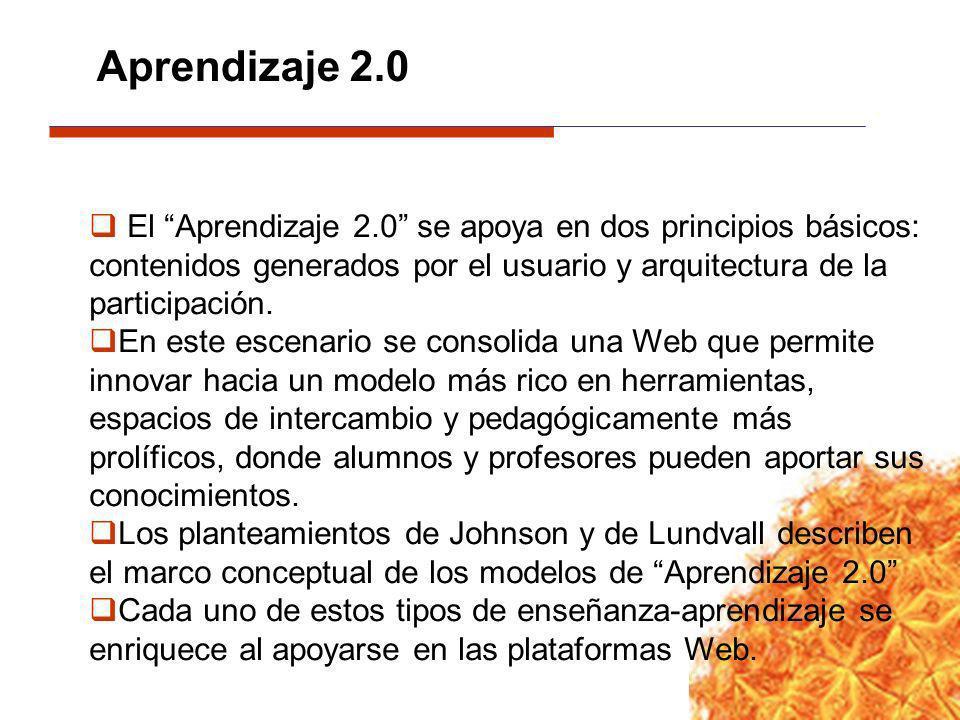 El Aprendizaje 2.0 se apoya en dos principios básicos: contenidos generados por el usuario y arquitectura de la participación. En este escenario se co