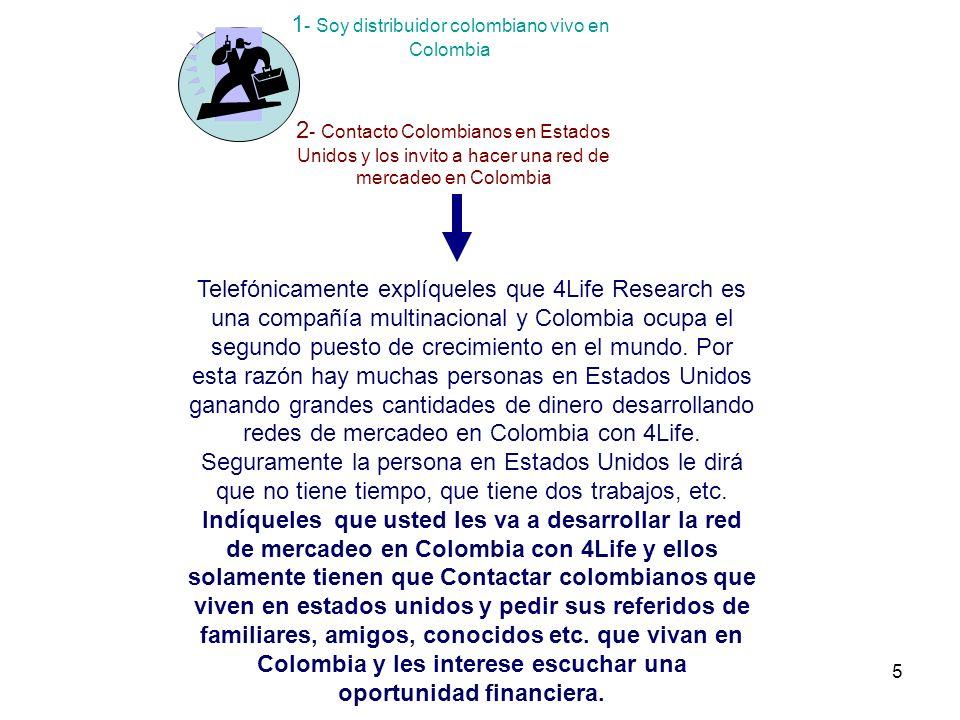 5 1 - Soy distribuidor colombiano vivo en Colombia 2 - Contacto Colombianos en Estados Unidos y los invito a hacer una red de mercadeo en Colombia Telefónicamente explíqueles que 4Life Research es una compañía multinacional y Colombia ocupa el segundo puesto de crecimiento en el mundo.