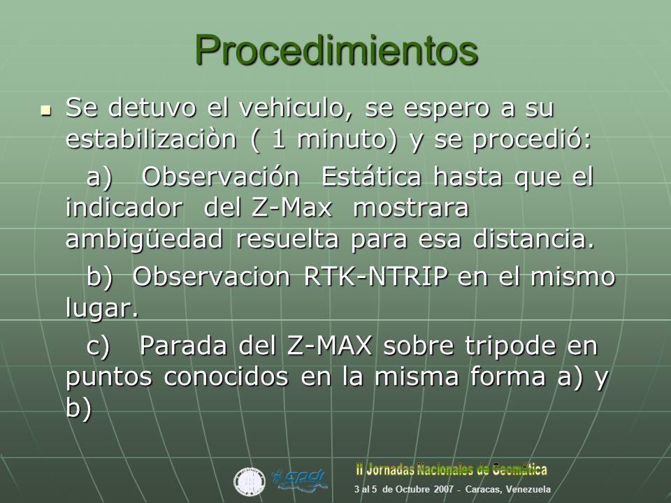 Proceso de los resultados Se descargaron lo datos Estáticos y se procesaron con GNSS Solutions, software de calidad geodesica.