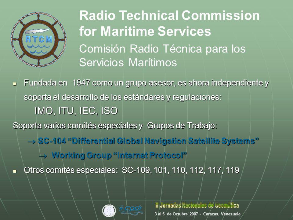RTCM 2.0: Correcciones de Pseudo Rango, DGPS Mensajes Tipo 1, 3, 9, Precisión sub métrica RTCM 2.1 y 2.2: Datos de Fase Portadora, RTK Mensajes Tipo 18, 19, 20, 21, Precisión Centimétrica RTCM 2.3: con GLONASS, RTK ( el actual) Mensajes tipo 18, 19, 20, 21, Precisión Centimétrica Aparece Internet, se crea el Protocolo NTRIP y se acondiciona un grupo de mensajes adecuado: RTCM 3.0: Reducción del ancho de banda, RTK Mensajes Tipo 1004,1005….
