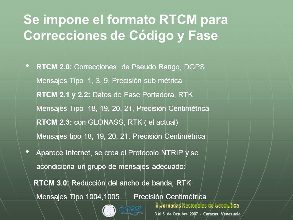 Transporte Datos NTRIP RTCMv3 Una vez establecido el estandar para la corrección, la capa de transporte de Internet conjuntamente con GPRS son las bases para crear el protocolo NTRIP 3 al 5 de Octubre 2007 - Caracas, Venezuela