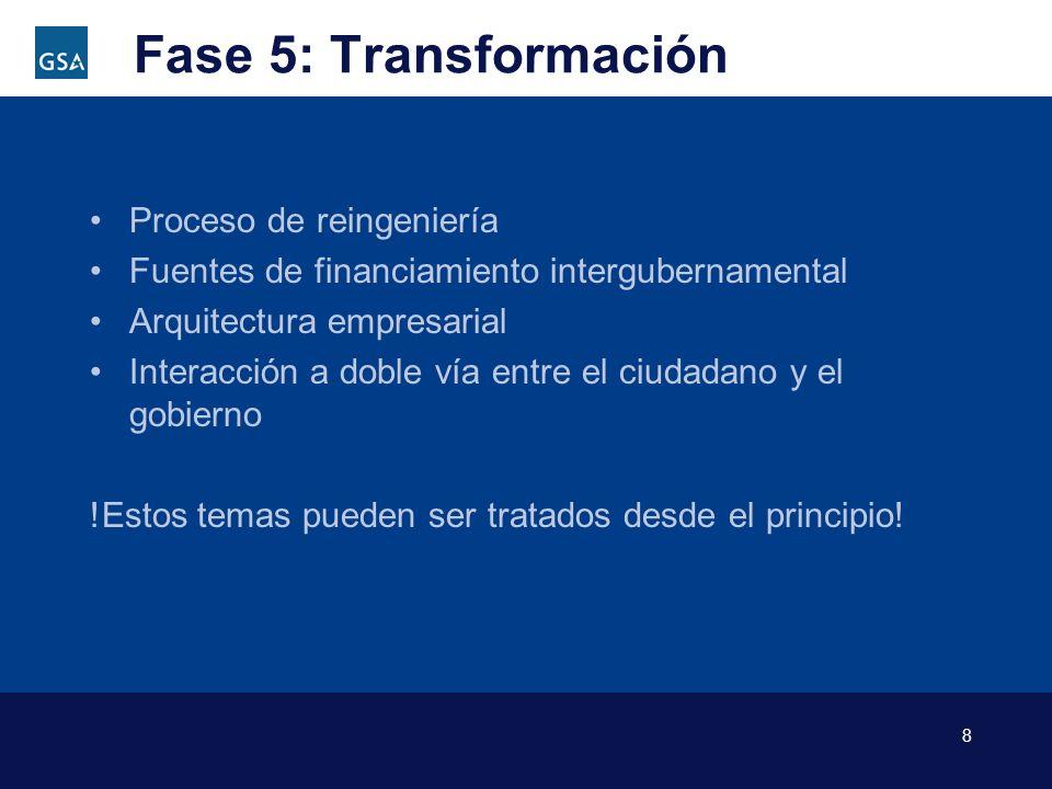 8 Fase 5: Transformación Proceso de reingeniería Fuentes de financiamiento intergubernamental Arquitectura empresarial Interacción a doble vía entre e