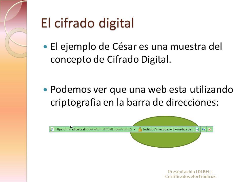 El cifrado digital El ejemplo de César es una muestra del concepto de Cifrado Digital. Podemos ver que una web esta utilizando criptografia en la barr