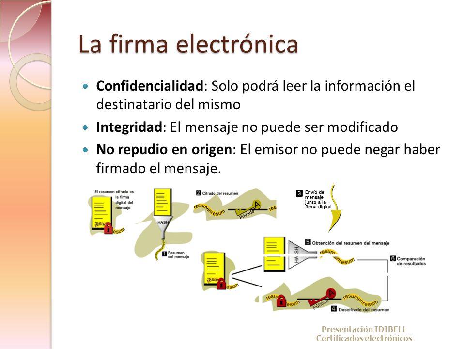 La firma electrónica Confidencialidad: Solo podrá leer la información el destinatario del mismo Integridad: El mensaje no puede ser modificado No repu