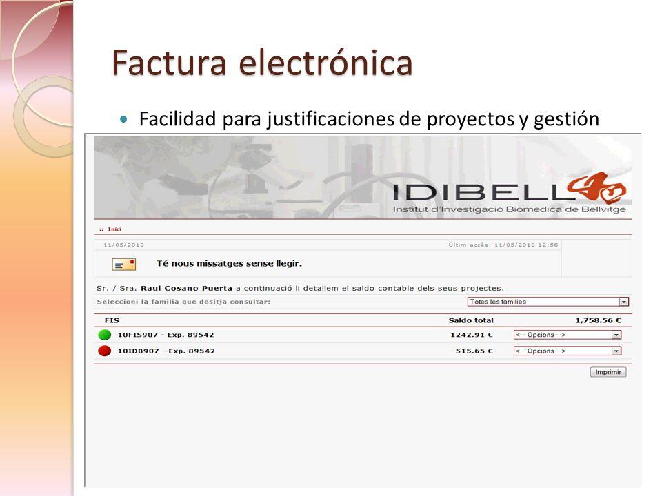 Factura electrónica Facilidad para justificaciones de proyectos y gestión