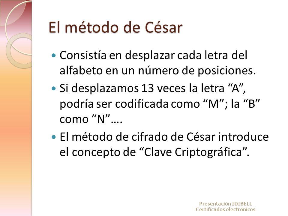 El método de César Consistía en desplazar cada letra del alfabeto en un número de posiciones. Si desplazamos 13 veces la letra A, podría ser codificad