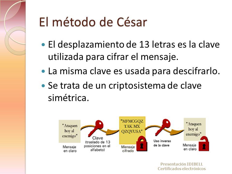 El método de César El desplazamiento de 13 letras es la clave utilizada para cifrar el mensaje. La misma clave es usada para descifrarlo. Se trata de