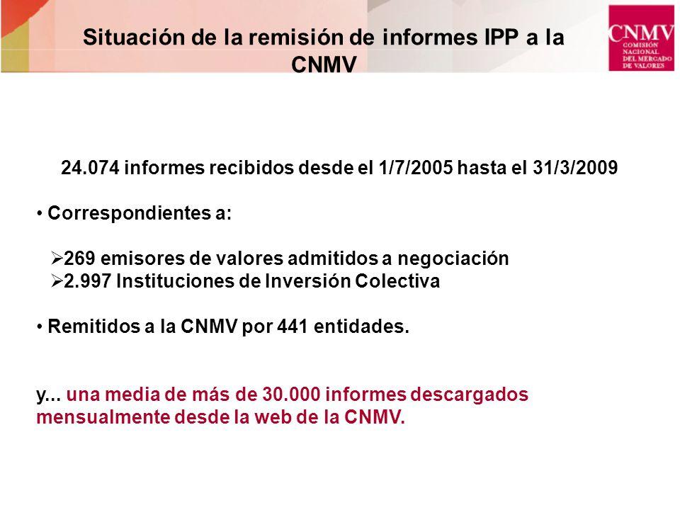 24.074 informes recibidos desde el 1/7/2005 hasta el 31/3/2009 Correspondientes a: 269 emisores de valores admitidos a negociación 2.997 Instituciones