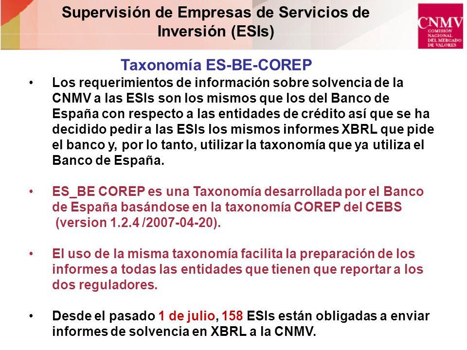 Taxonomía ES-BE-COREP Supervisión de Empresas de Servicios de Inversión (ESIs) Los requerimientos de información sobre solvencia de la CNMV a las ESIs