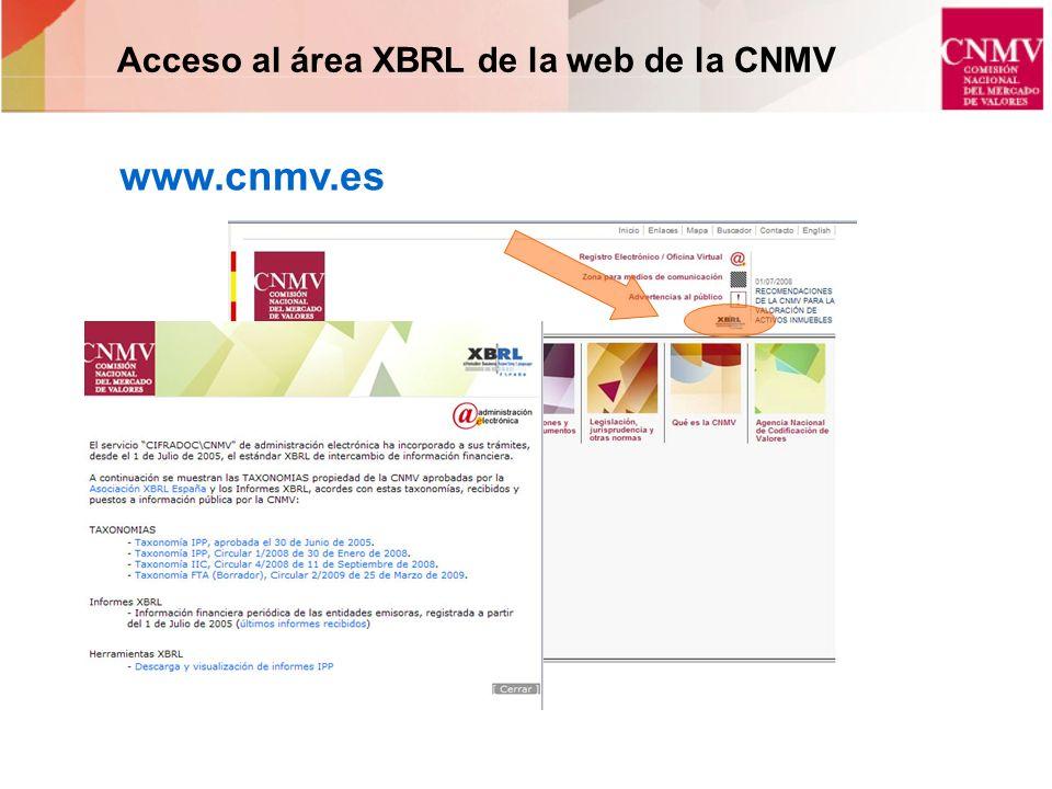 Acceso al área XBRL de la web de la CNMV www.cnmv.es