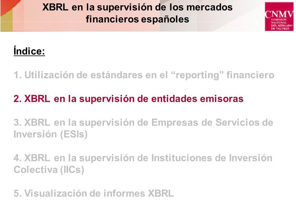 XBRL en la supervisión de los mercados financieros españoles Índice: 1. Utilización de estándares en el reporting financiero 2. XBRL en la supervisión