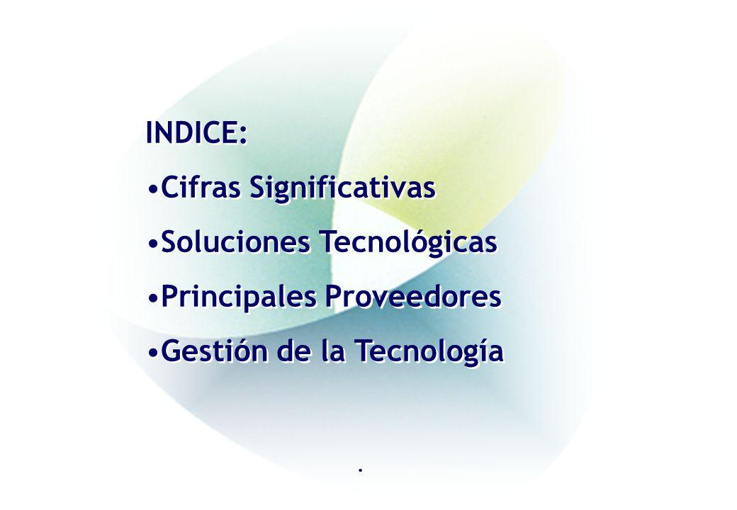 INDICE: Cifras Significativas Soluciones Tecnológicas Principales Proveedores Gestión de la Tecnología INDICE: Cifras Significativas Soluciones Tecnológicas Principales Proveedores Gestión de la Tecnología.