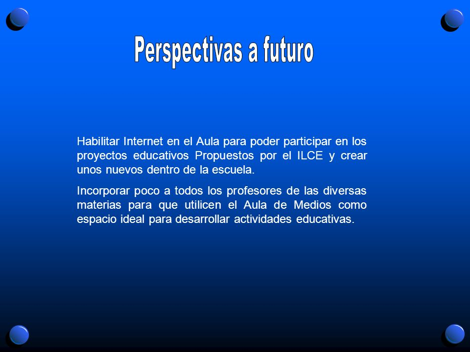 Habilitar Internet en el Aula para poder participar en los proyectos educativos Propuestos por el ILCE y crear unos nuevos dentro de la escuela. Incor