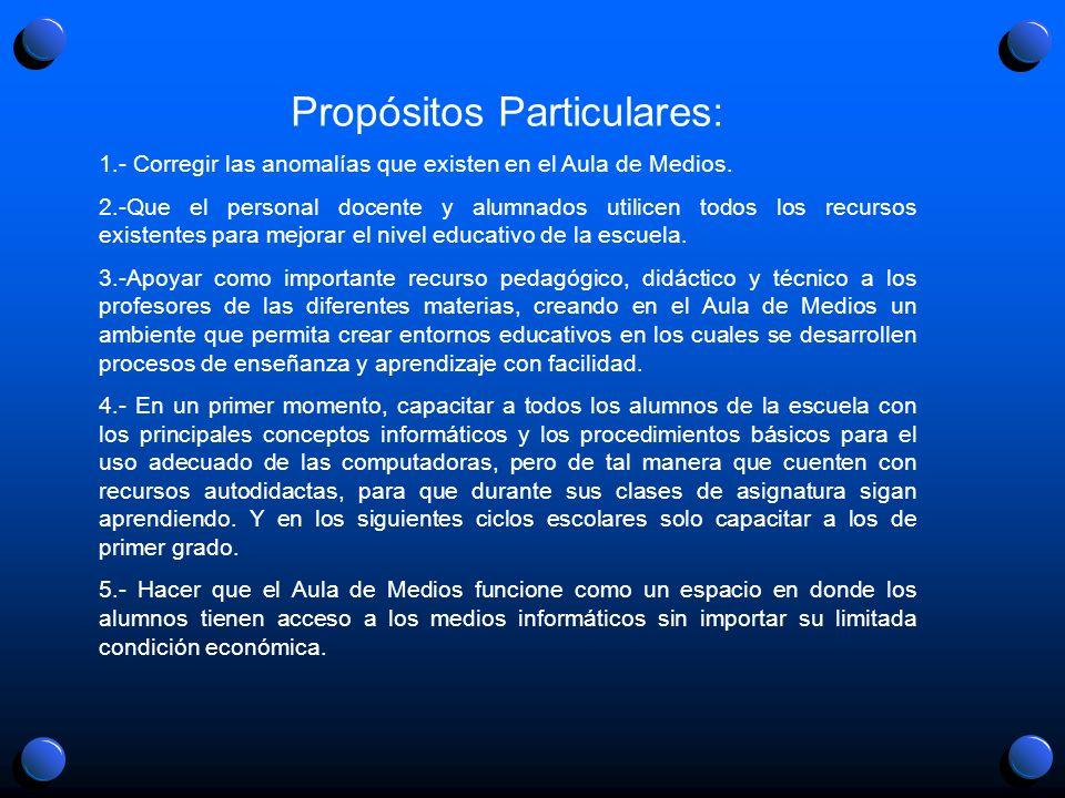 Propósitos Particulares: 1.- Corregir las anomalías que existen en el Aula de Medios. 2.-Que el personal docente y alumnados utilicen todos los recurs