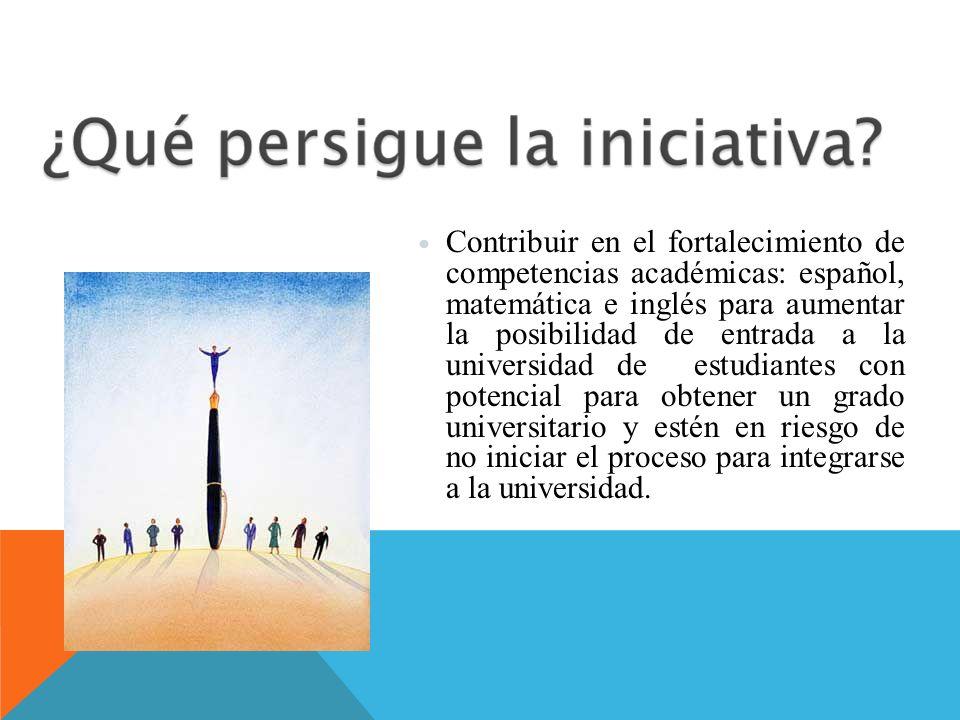 Contribuir en el fortalecimiento de competencias académicas: español, matemática e inglés para aumentar la posibilidad de entrada a la universidad de