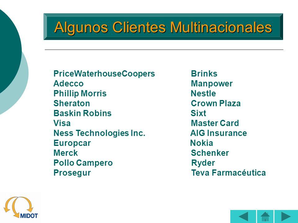 Algunos Clientes Multinacionales Algunos Clientes Multinacionales PriceWaterhouseCoopers Brinks Adecco Manpower Phillip Morris Nestle Sheraton Crown P