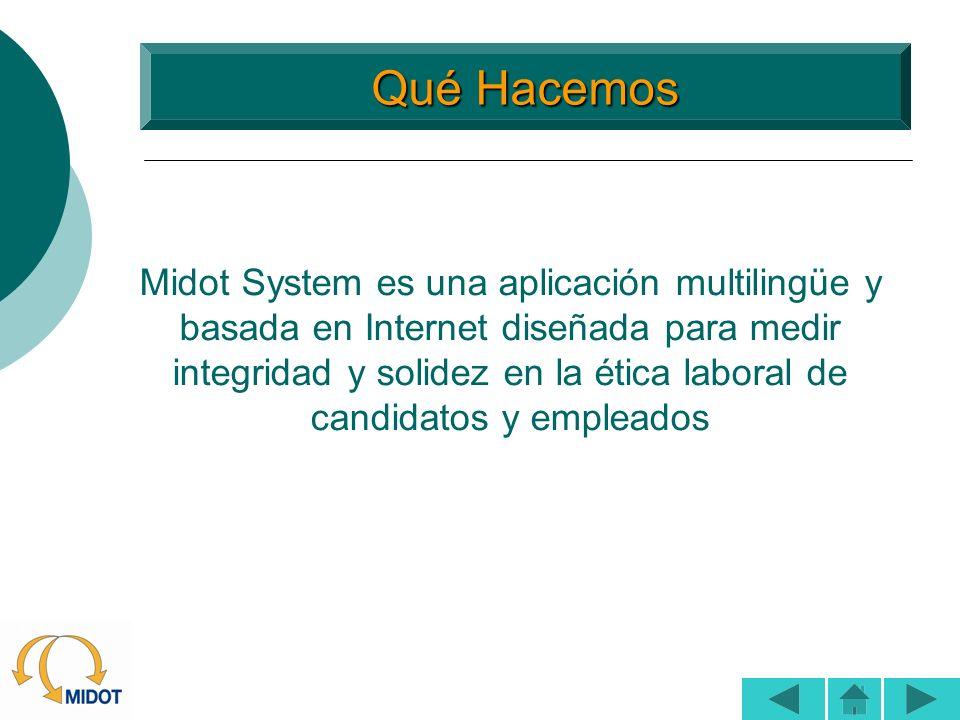 Qué Hacemos Qué Hacemos Midot System es una aplicación multilingüe y basada en Internet diseñada para medir integridad y solidez en la ética laboral d