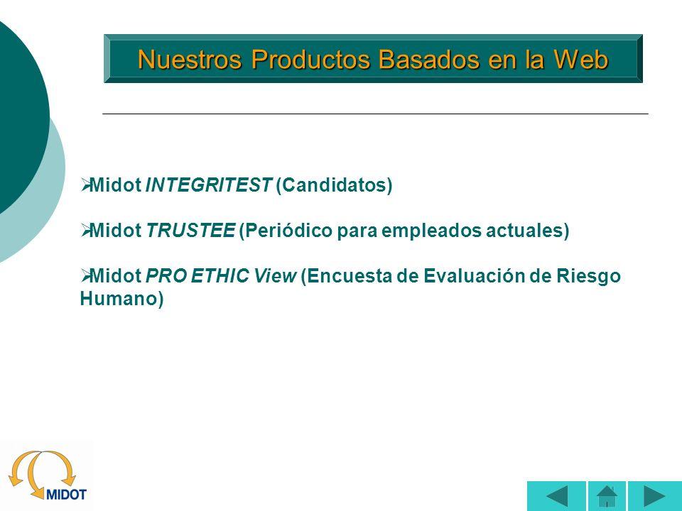 Nuestros Productos Basados en la Web Nuestros Productos Basados en la Web Midot INTEGRITEST (Candidatos) Midot TRUSTEE (Periódico para empleados actua