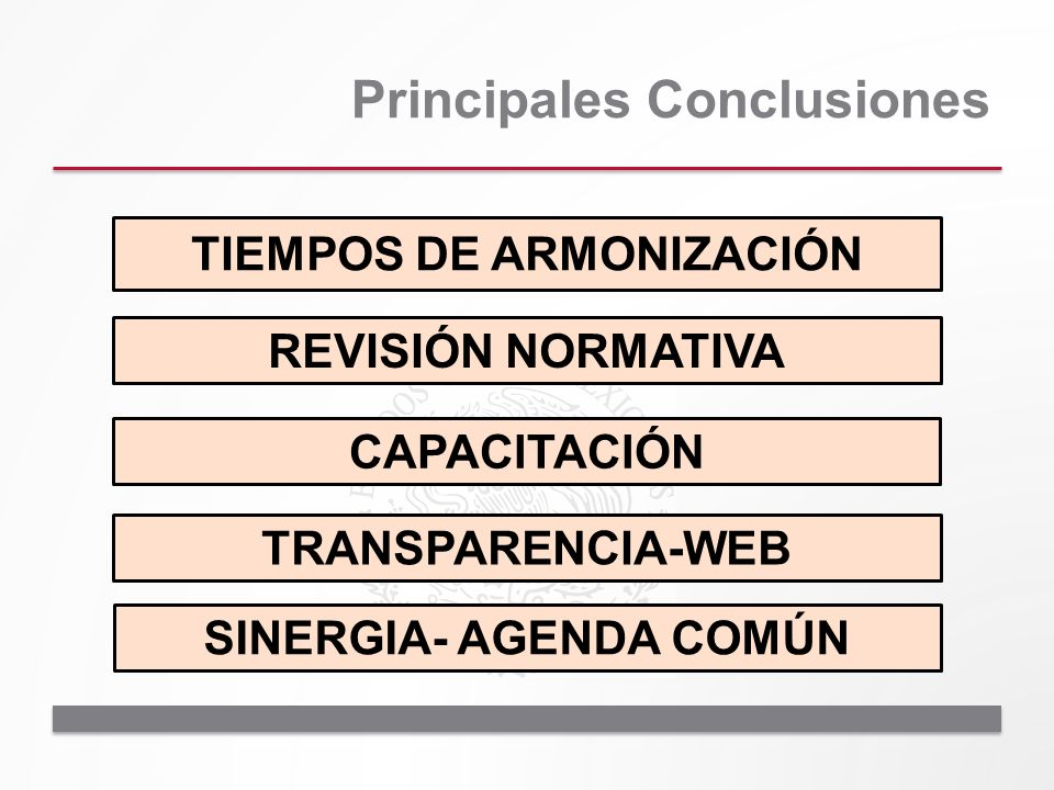Principales Conclusiones TIEMPOS DE ARMONIZACIÓN REVISIÓN NORMATIVA CAPACITACIÓN TRANSPARENCIA-WEB SINERGIA- AGENDA COMÚN
