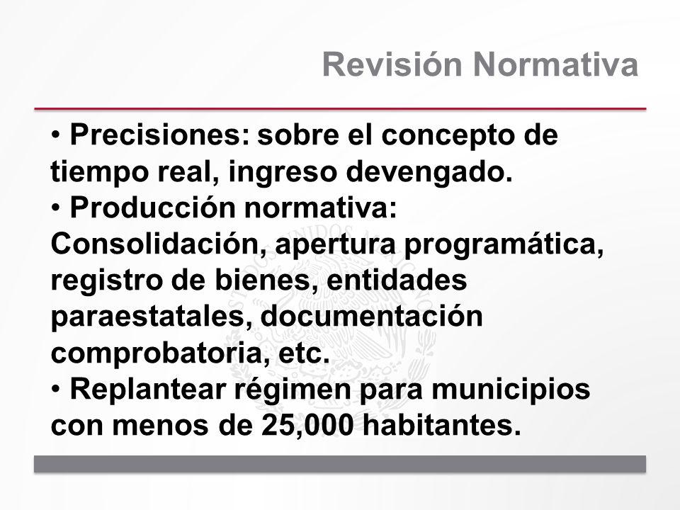 Revisión Normativa Precisiones: sobre el concepto de tiempo real, ingreso devengado. Producción normativa: Consolidación, apertura programática, regis