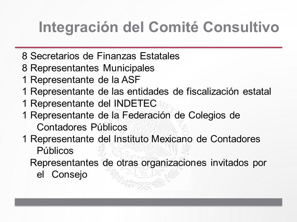 Integración del Comité Consultivo 8 Secretarios de Finanzas Estatales 8 Representantes Municipales 1 Representante de la ASF 1 Representante de las en