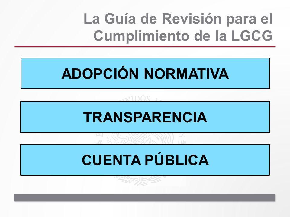 La Guía de Revisión para el Cumplimiento de la LGCG ADOPCIÓN NORMATIVA TRANSPARENCIA CUENTA PÚBLICA