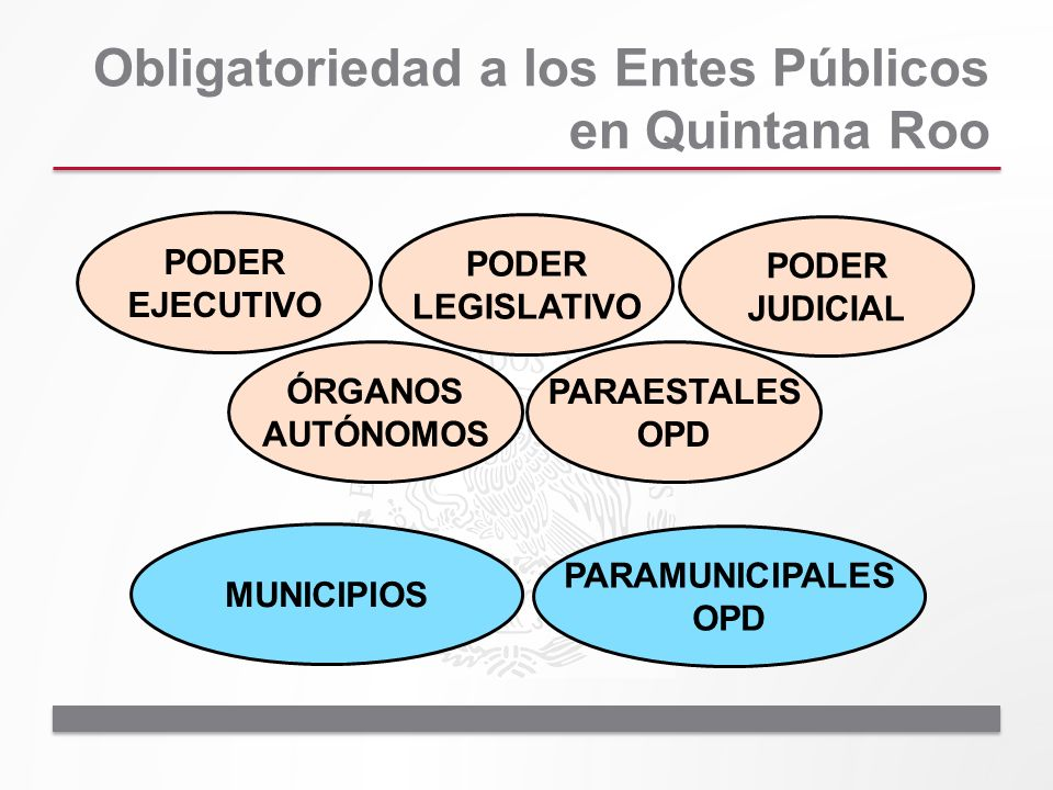Obligatoriedad a los Entes Públicos en Quintana Roo PODER EJECUTIVO PODER LEGISLATIVO PODER JUDICIAL ÓRGANOS AUTÓNOMOS PARAESTALES OPD MUNICIPIOS PARA