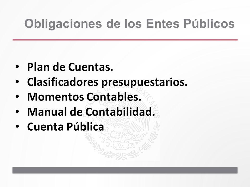 Plan de Cuentas. Clasificadores presupuestarios. Momentos Contables. Manual de Contabilidad. Cuenta Pública Obligaciones de los Entes Públicos