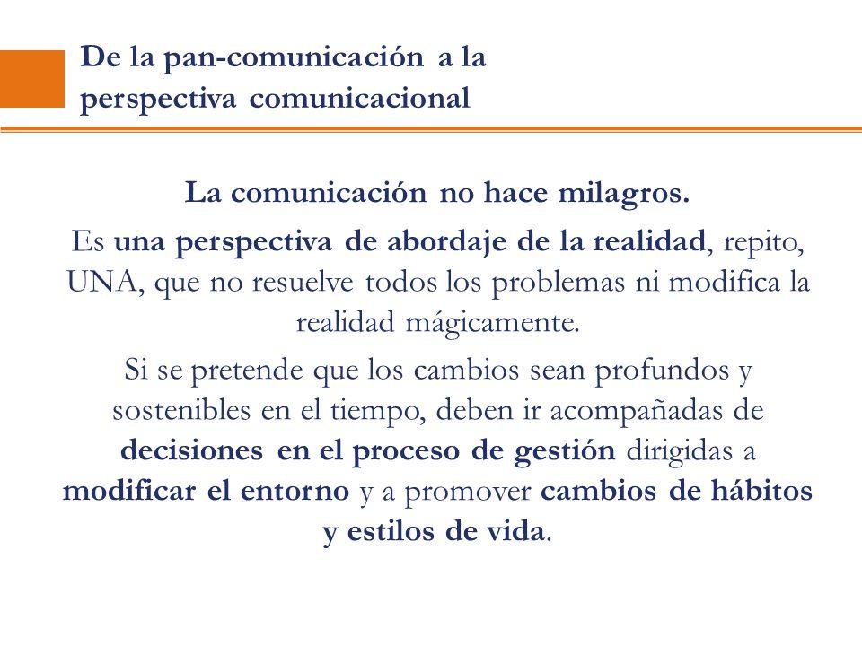De la pan-comunicación a la perspectiva comunicacional La comunicación no hace milagros. Es una perspectiva de abordaje de la realidad, repito, UNA, q