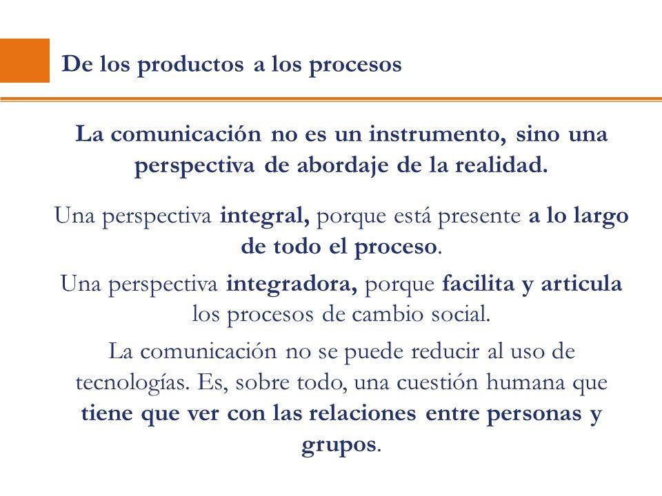 De los productos a los procesos La comunicación no es un instrumento, sino una perspectiva de abordaje de la realidad. Una perspectiva integral, porqu