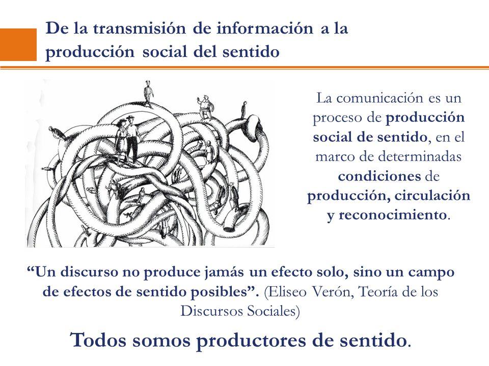De la transmisión de información a la producción social del sentido Un discurso no produce jamás un efecto solo, sino un campo de efectos de sentido p