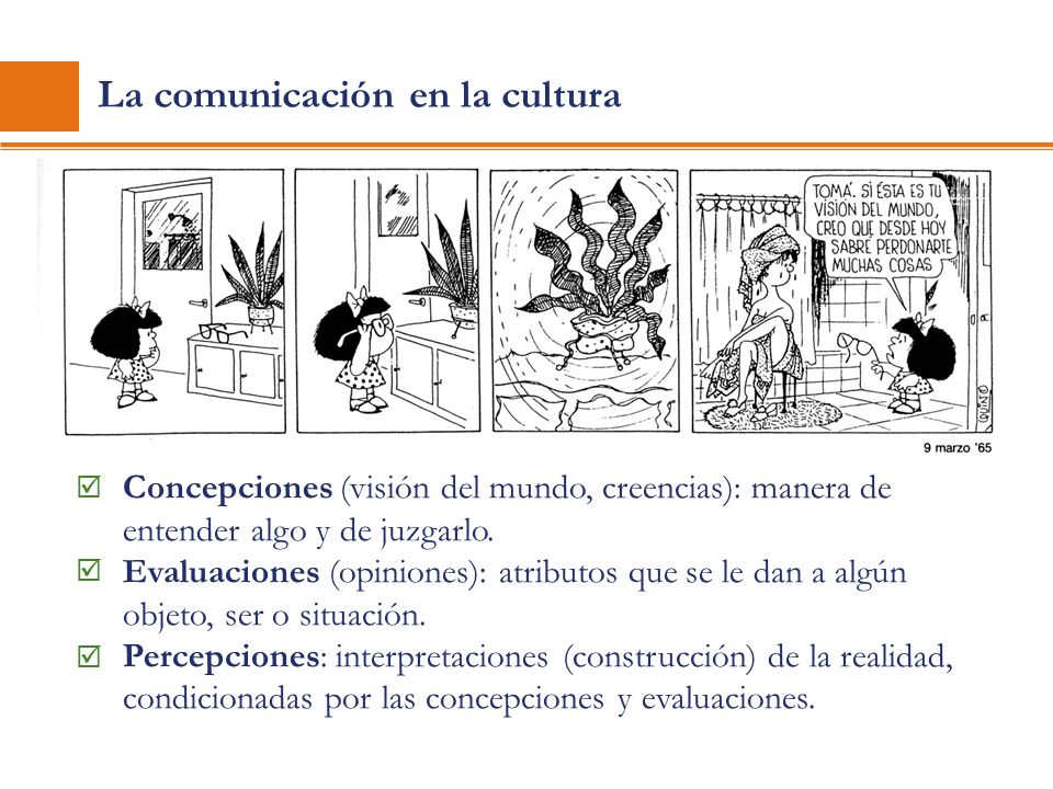 La comunicación en la cultura Concepciones (visión del mundo, creencias): manera de entender algo y de juzgarlo. Evaluaciones (opiniones): atributos q