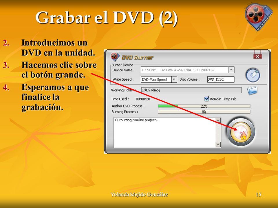 Yolanda Mejido González15 Grabar el DVD (2) 2. Introducimos un DVD en la unidad.