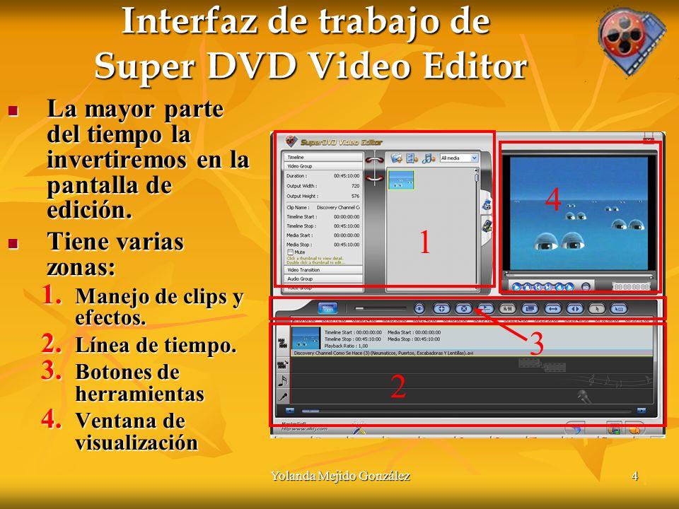 Yolanda Mejido González4 Interfaz de trabajo de Super DVD Video Editor La mayor parte del tiempo la invertiremos en la pantalla de edición.