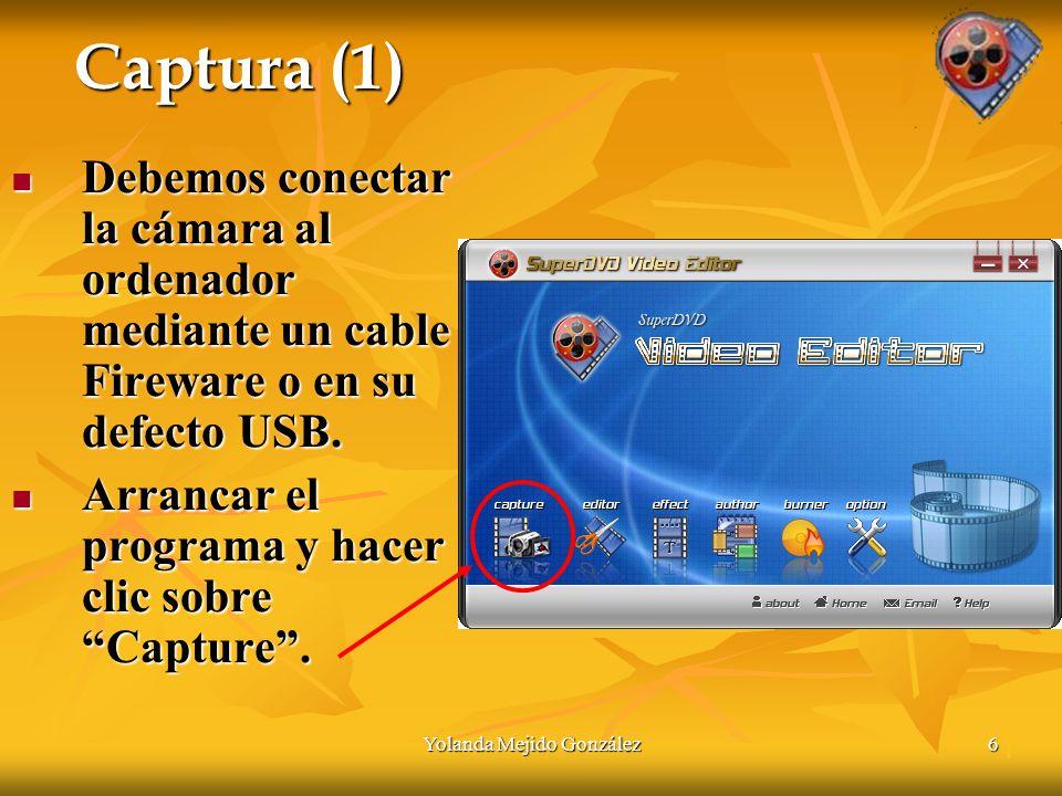 Yolanda Mejido González6 Captura (1) Debemos conectar la cámara al ordenador mediante un cable Fireware o en su defecto USB.