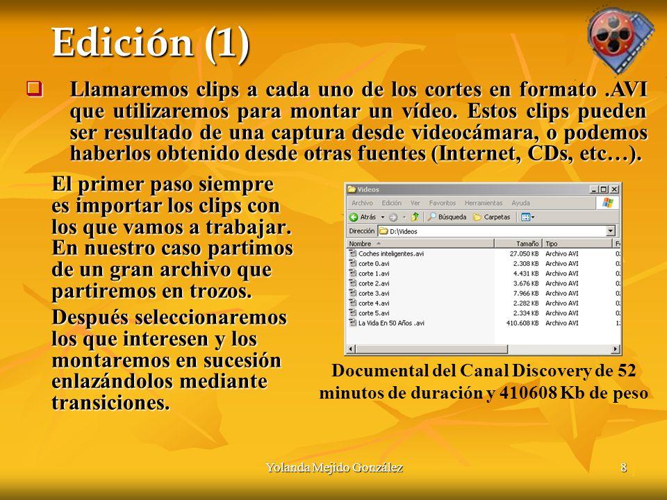 Yolanda Mejido González8 Edición (1) El primer paso siempre es importar los clips con los que vamos a trabajar.