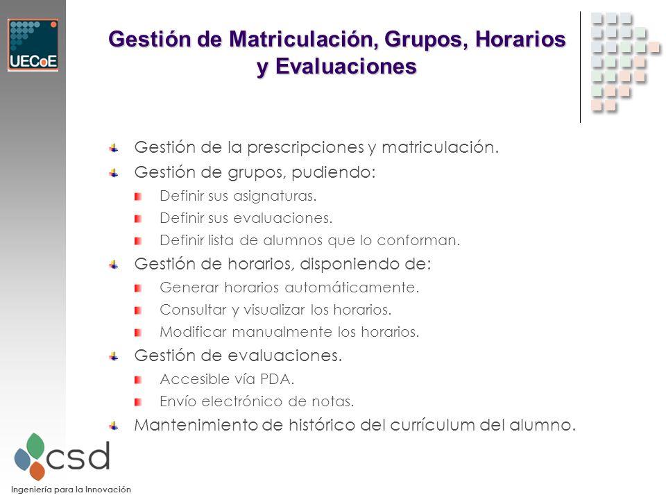 Ingeniería para la Innovación Gestión de Matriculación, Grupos, Horarios y Evaluaciones Gestión de la prescripciones y matriculación.