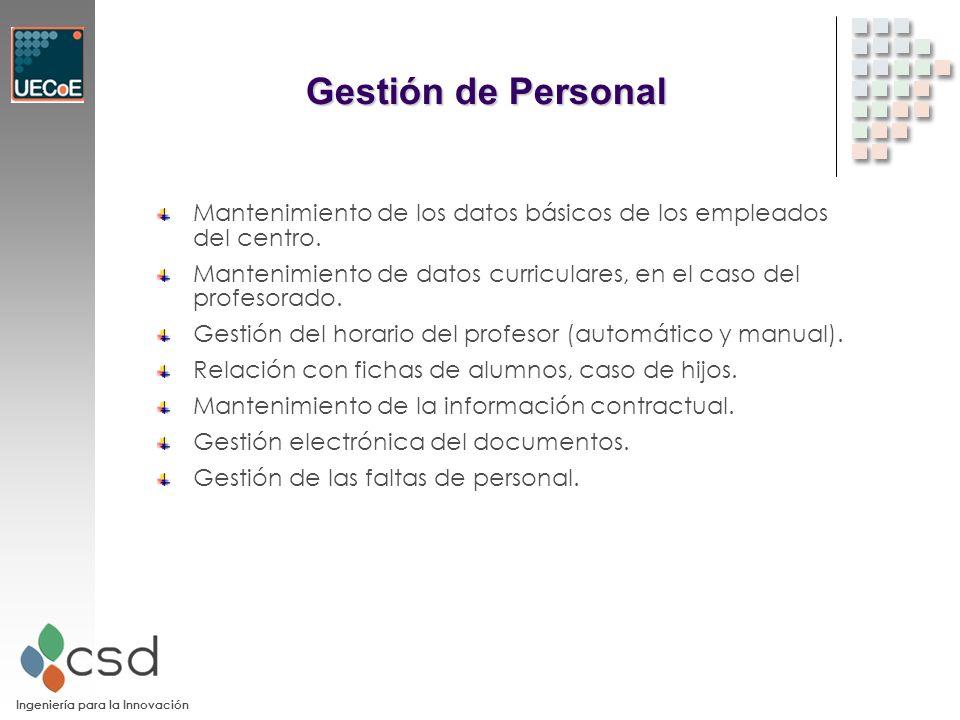 Ingeniería para la Innovación Gestión de Personal Mantenimiento de los datos básicos de los empleados del centro.