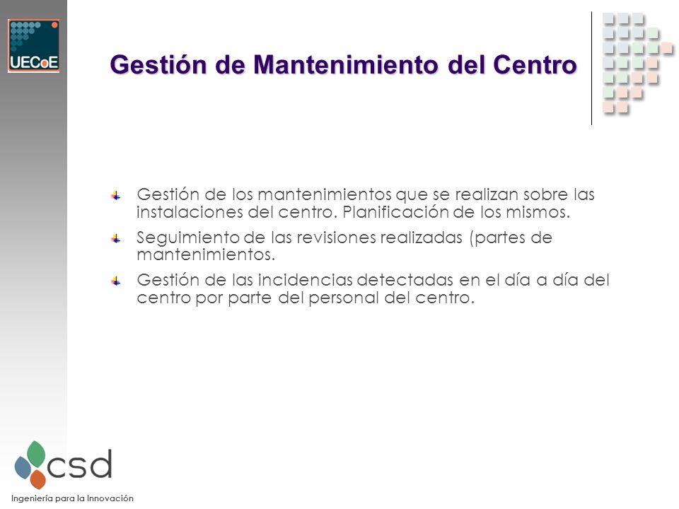 Ingeniería para la Innovación Gestión de Mantenimiento del Centro Gestión de los mantenimientos que se realizan sobre las instalaciones del centro.
