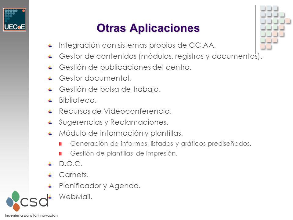 Ingeniería para la Innovación Otras Aplicaciones Integración con sistemas propios de CC.AA.
