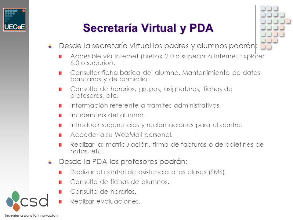 Ingeniería para la Innovación Secretaría Virtual y PDA Desde la secretaría virtual los padres y alumnos podrán: Accesible vía Internet (Firefox 2.0 o superior o Internet Explorer 6.0 o superior).
