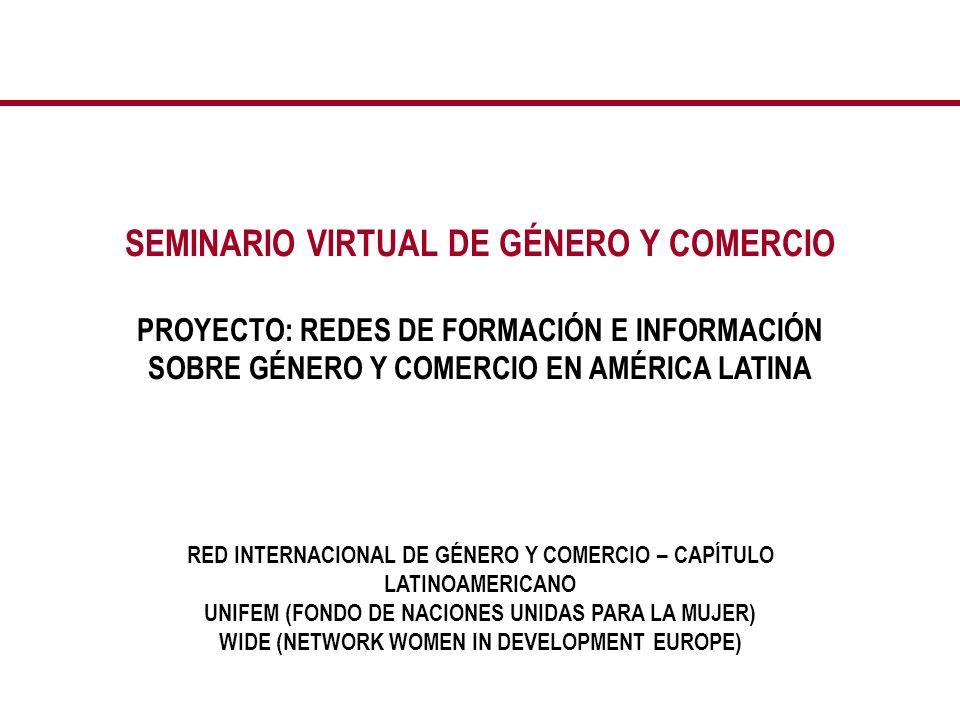 SITIO WEB Se elaboró un sitio web especialmente para el Seminario, en español y portugués, dentro de la página de la Red Internacional de Género y Comercio – Capítulo Latinoamericano (www.generoycomercio.org).
