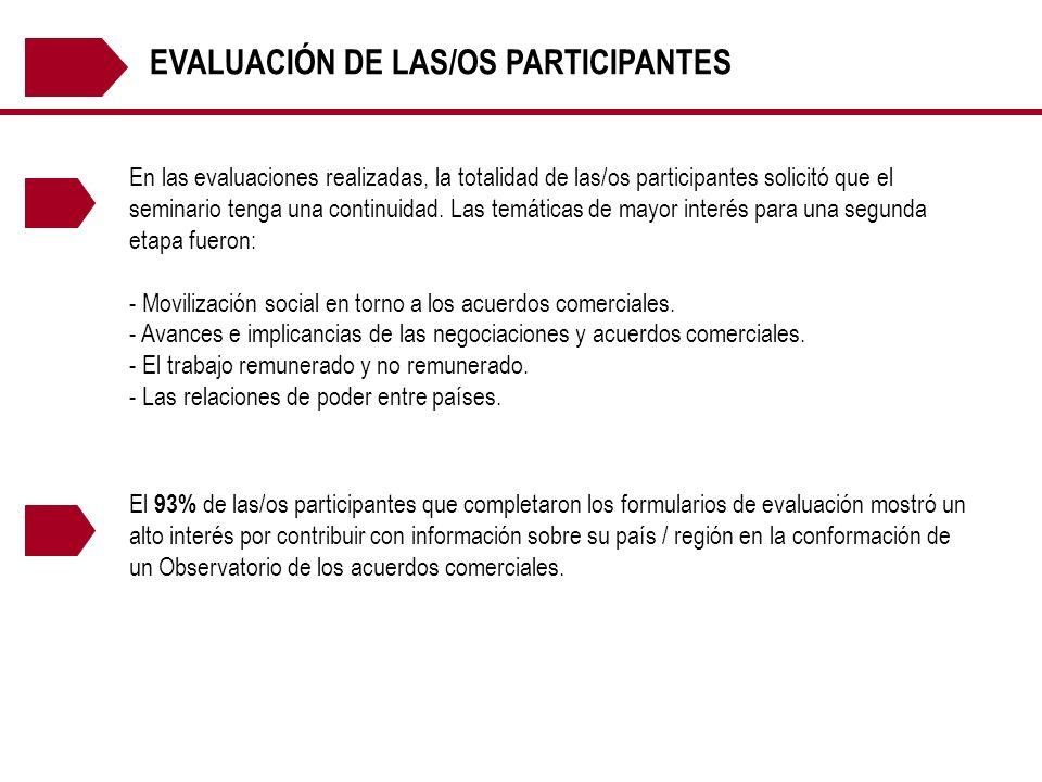 EVALUACIÓN DE LAS/OS PARTICIPANTES En las evaluaciones realizadas, la totalidad de las/os participantes solicitó que el seminario tenga una continuida