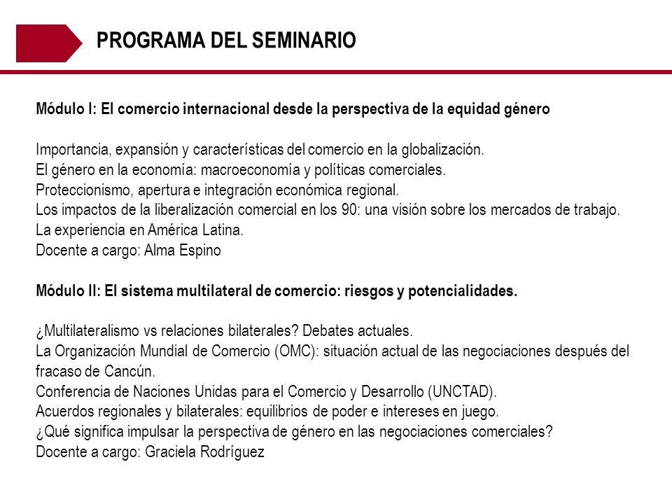 PROGRAMA DEL SEMINARIO Módulo I: El comercio internacional desde la perspectiva de la equidad género Importancia, expansión y características del come