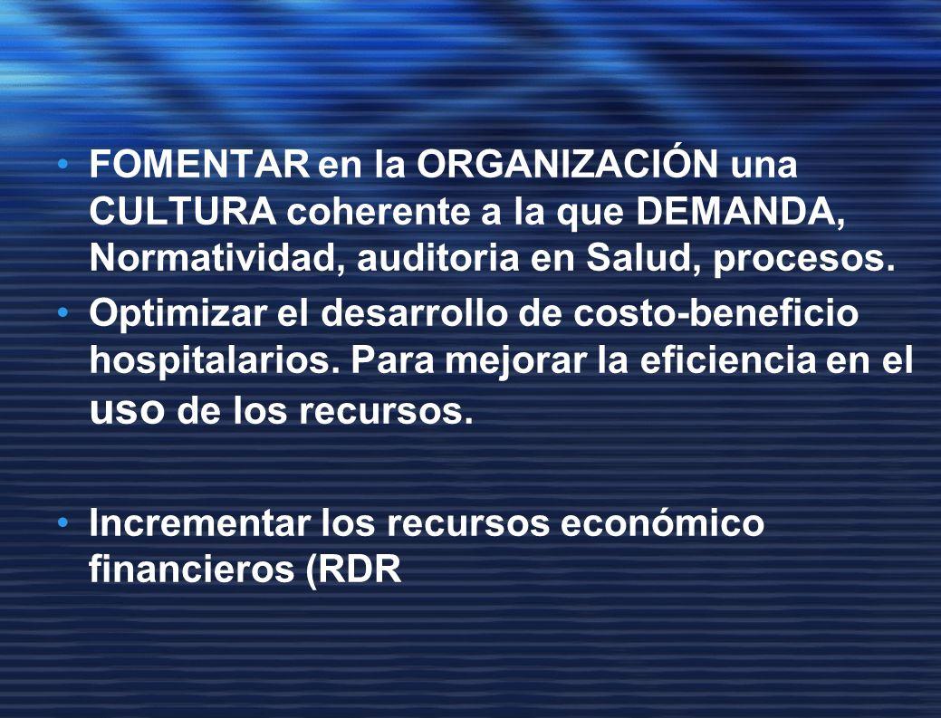FOMENTAR en la ORGANIZACIÓN una CULTURA coherente a la que DEMANDA, Normatividad, auditoria en Salud, procesos.
