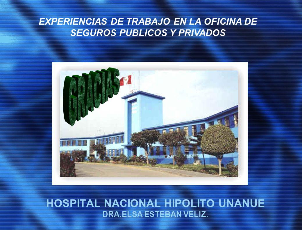 HOSPITAL NACIONAL HIPOLITO UNANUE DRA.ELSA ESTEBAN VELIZ. EXPERIENCIAS DE TRABAJO EN LA OFICINA DE SEGUROS PUBLICOS Y PRIVADOS
