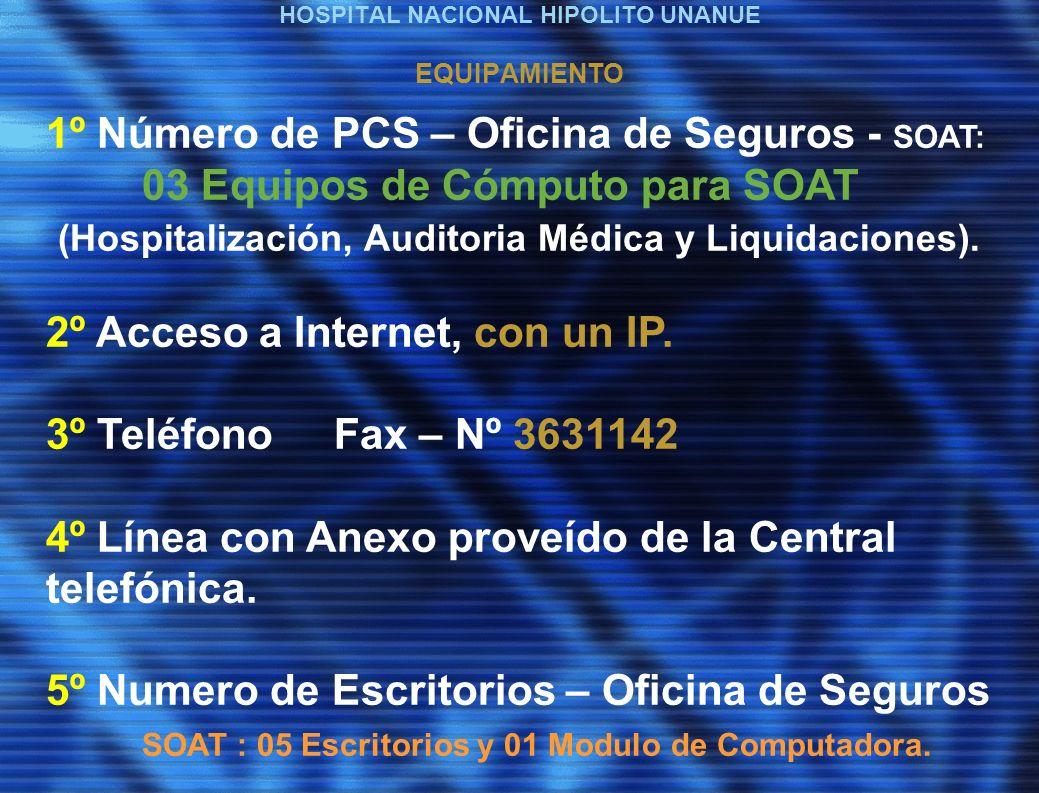 HOSPITAL NACIONAL HIPOLITO UNANUE EQUIPAMIENTO 1º Número de PCS – Oficina de Seguros - SOAT: 03 Equipos de Cómputo para SOAT (Hospitalización, Auditoria Médica y Liquidaciones).
