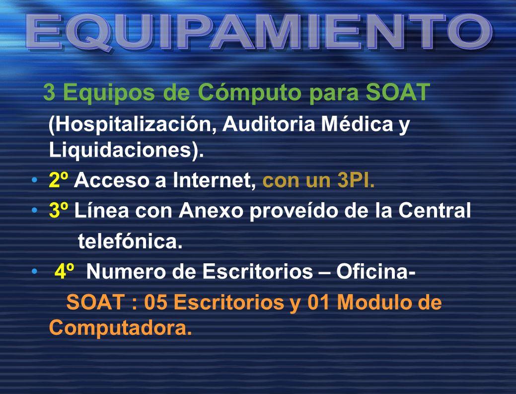 3 Equipos de Cómputo para SOAT (Hospitalización, Auditoria Médica y Liquidaciones). 2º Acceso a Internet, con un 3PI. 3º Línea con Anexo proveído de l