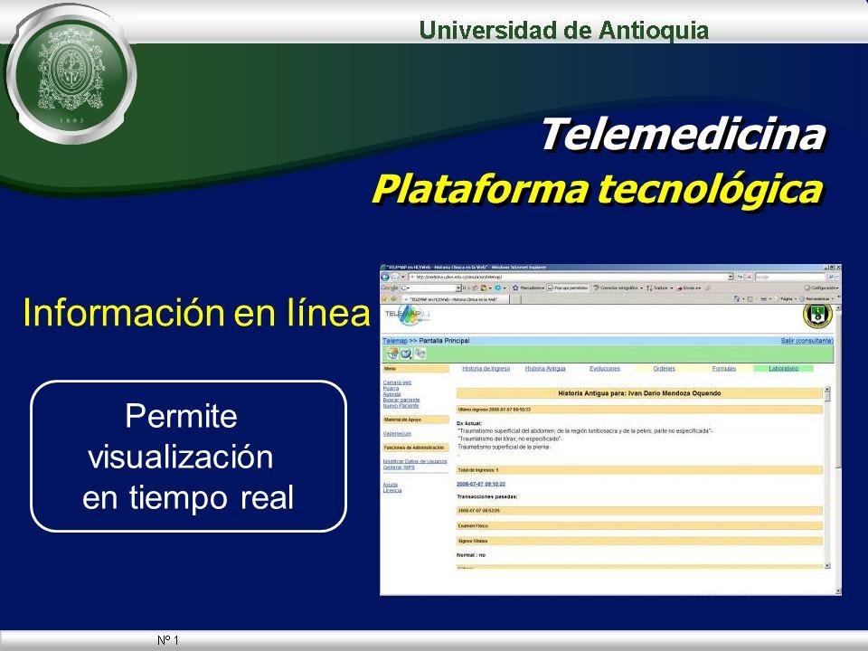 Información en línea Telemedicina Plataforma tecnológica Permite visualización en tiempo real